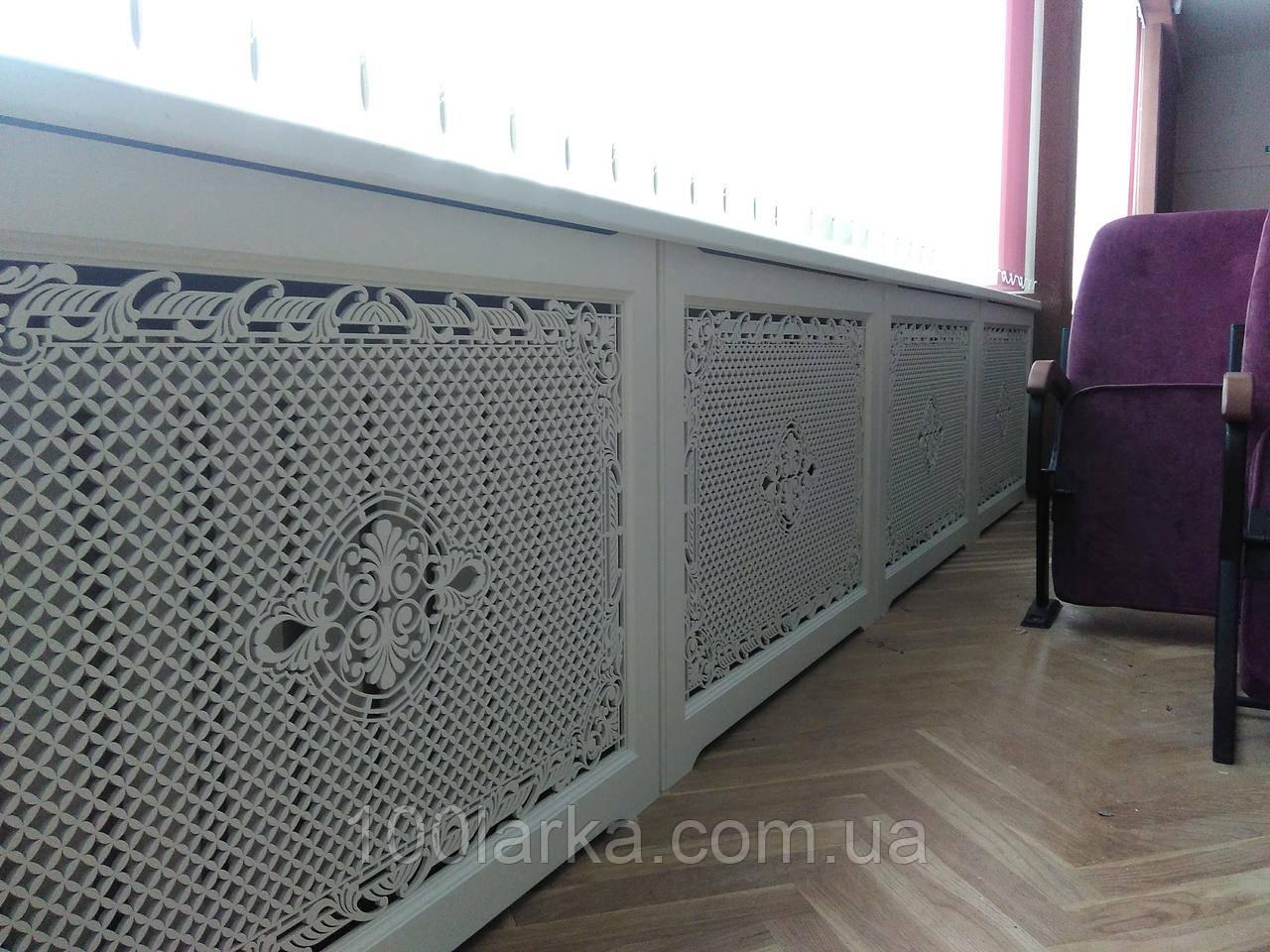 Решітка батарею опалення Екран (короб) дерев'яний R8-F60 Білий 780 мм в комплекті з кріпленнями