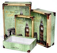 Подарочные коробки для интерьера дома Лондон 3шт 34-25-12 см