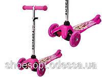 Самокат Barbie Барби для девочки от 1 до 7 лет, регулируемая ручка