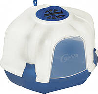 Туалет-бокс для кошек с фильтром и лопаткой CORNER BLUE 52*59,5*44,5 см (угловой)