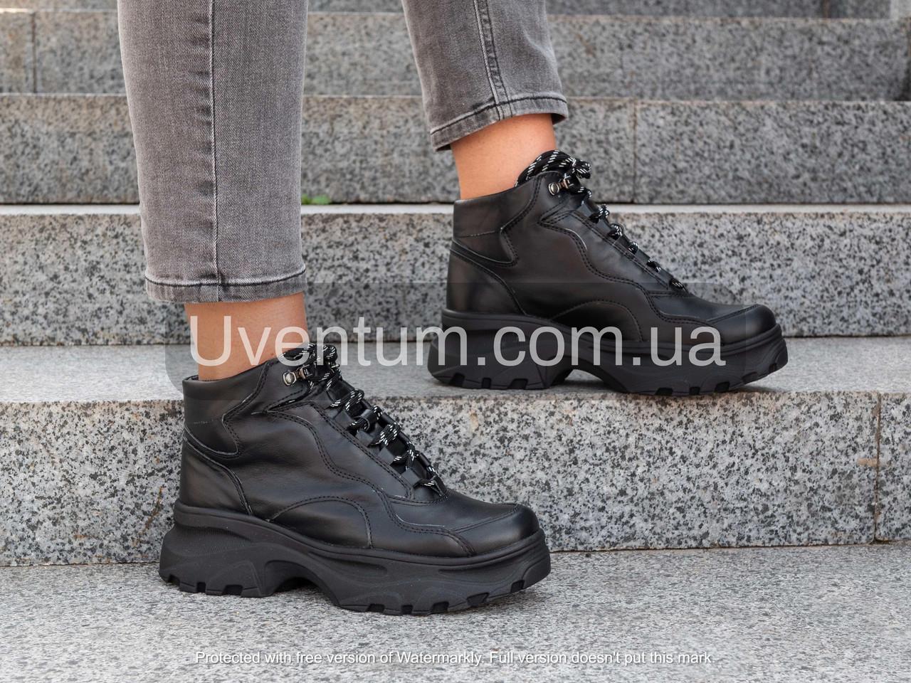 Осенние ботинки женские из натуральной кожи   36-40 черный