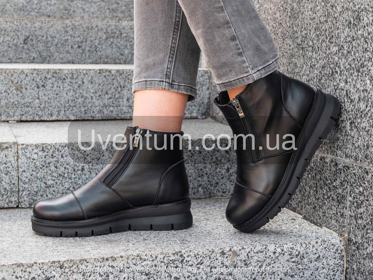 Модні черевики жіночі шкіряні 36-40 чорний