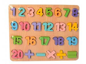Деревянная игрушка Рамка-вкладыш MD 2215-1 цифры,