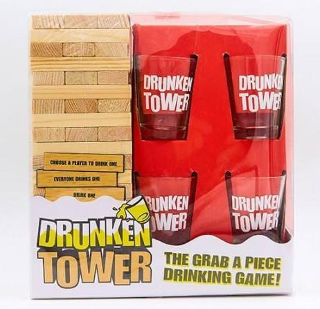 Дженга пьяная башня Drunken Tower Jenga деревянные блоки-60шт, стопки-4шт