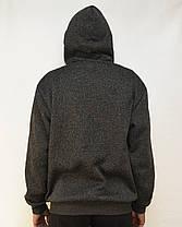 Теплая мужская флисовая толстовка на молнии с карманами M - 4XL Худи с капюшоном, фото 2