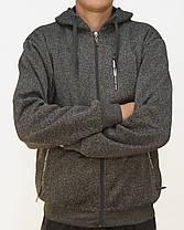 Теплая мужская флисовая толстовка на молнии с карманами M - 4XL Худи с капюшоном, фото 3