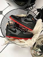 Nike Air Force High Black Grey Red кроссовки мужские высокие / Найк Аир Форс 1 черные серые с красным