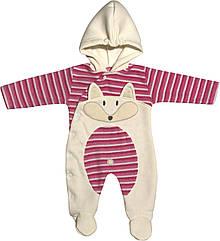 Дитячий теплий чоловічок з начосом зростання 56 0-2 міс махровий рожевий на дівчинку сліп з капюшоном для