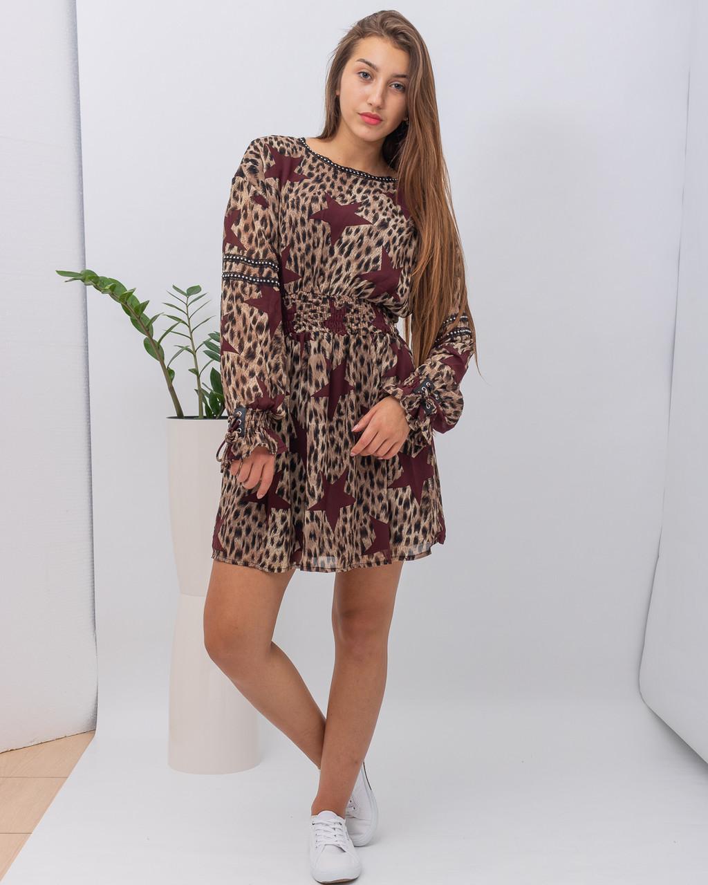 Платье женское WIYA WM 1031 BEIGE (BORDO STARS)