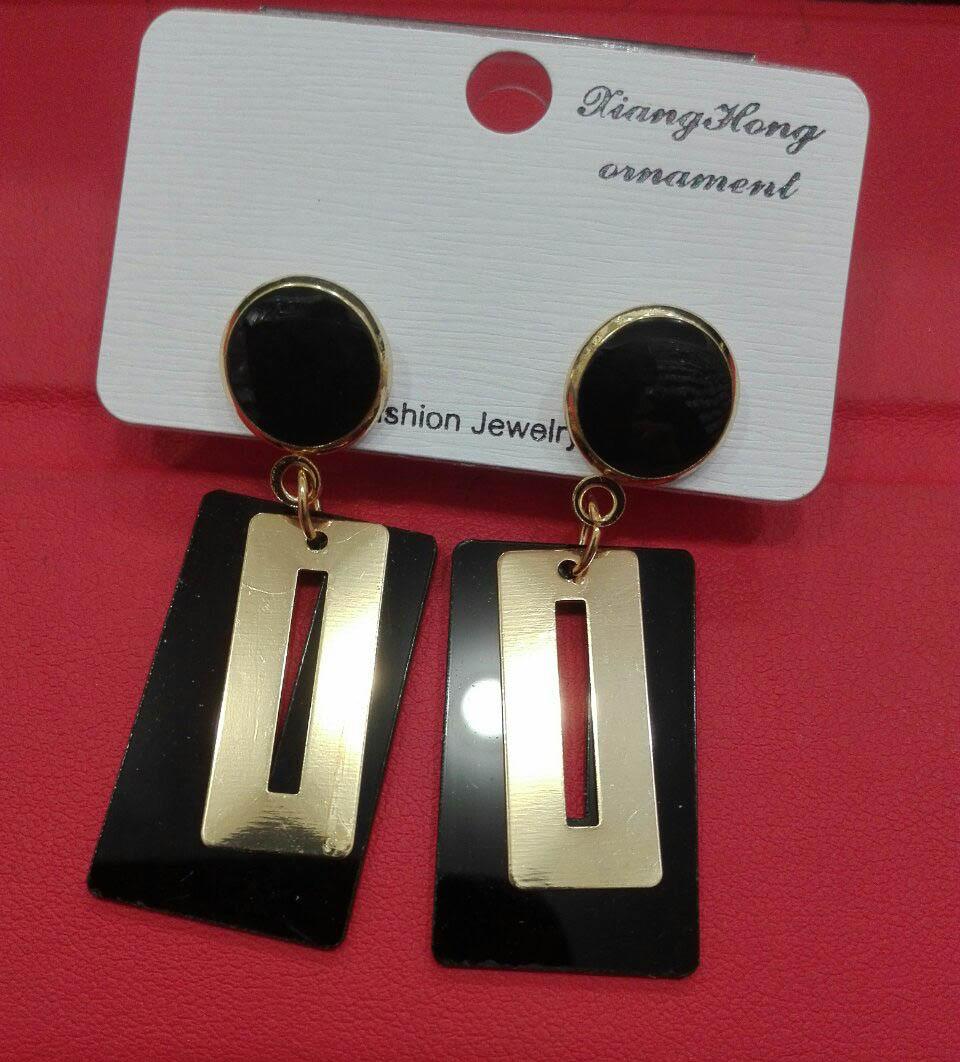 """Красиві жіночі квадратні сережки з висульками і каменем """"Альфредо"""""""