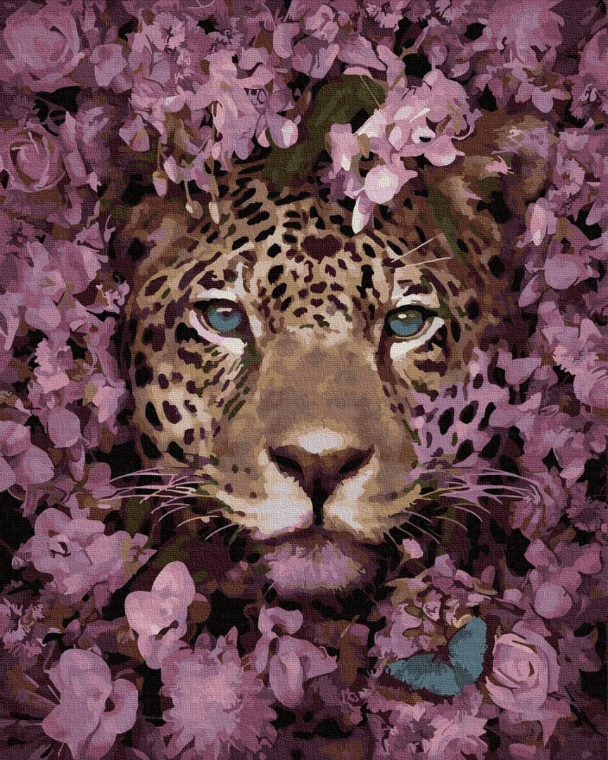 Картина по номерам Леопард в цветах, цветной холст, 40*50 см, без коробки Barvi