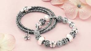 Срібний Браслет Пандора білий Шкіряний №590705CPL-D