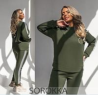 Трикотажний спортивний костюм жіночий зелений 42-44,46-48,50-52,54-56, фото 1