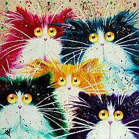 Картины по номерам 40×50 см. Babylon. Смешные коты. Художник Ким Хаскинс.