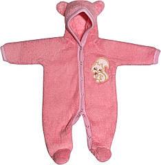 Дитячий теплий чоловічок зростання 56 0-2 міс махровий рожевий на дівчинку сліп з капюшоном для новонароджених