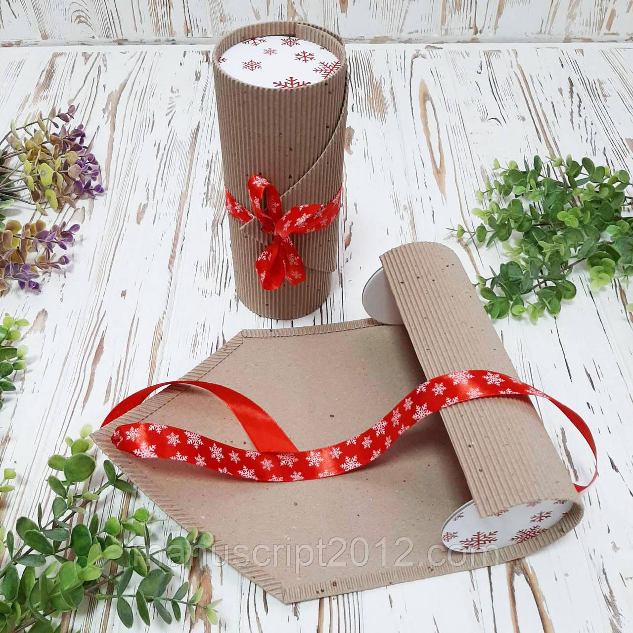 Коробка кругла крафт новорічна 90х205 мм. (внутрішній розмір)