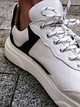 Кеди - Стильні чоловічі кеди з натуральної шкіри (білі з чорним), фото 2
