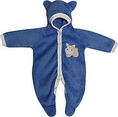 Дитячий теплий чоловічок зростання 56 0-2 міс махровий синій на хлопчика сліп з капюшоном для новонароджених