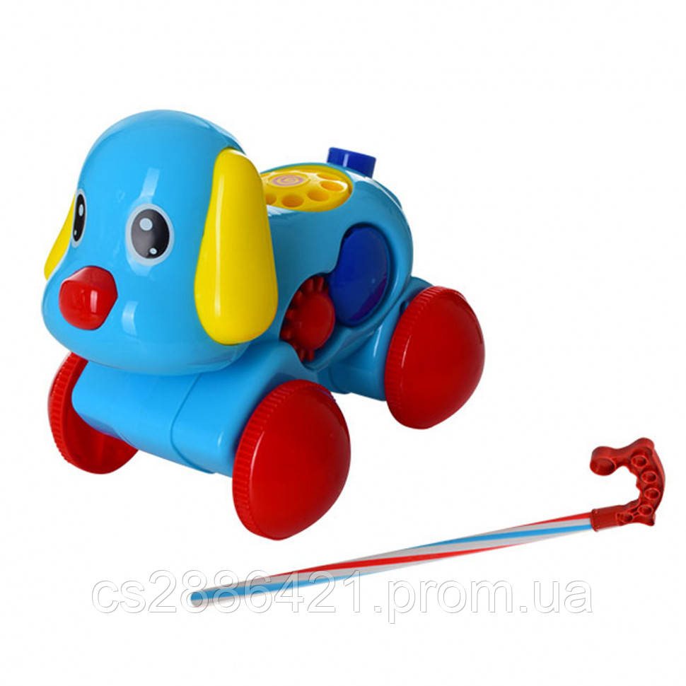 Каталка 370, на палке, собака18см, телефон, муз(механич) (Синий 370(Blue))