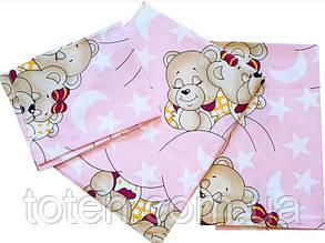 Комплект сменного постельного белья 3 в 1 бязь розовые мишки
