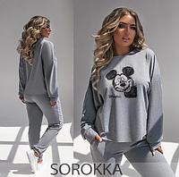 Жіночий спортивний костюм сірий 42-44,46-48,50-52,54-56, фото 1