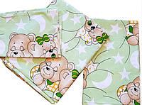 Комплект сменного постельного белья 3 в 1 бязь Мишки Спят для детской кроватки размером 120 на 60
