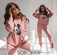 Женский спортивный костюм розовый 42-44,46-48,50-52,54-56, фото 1