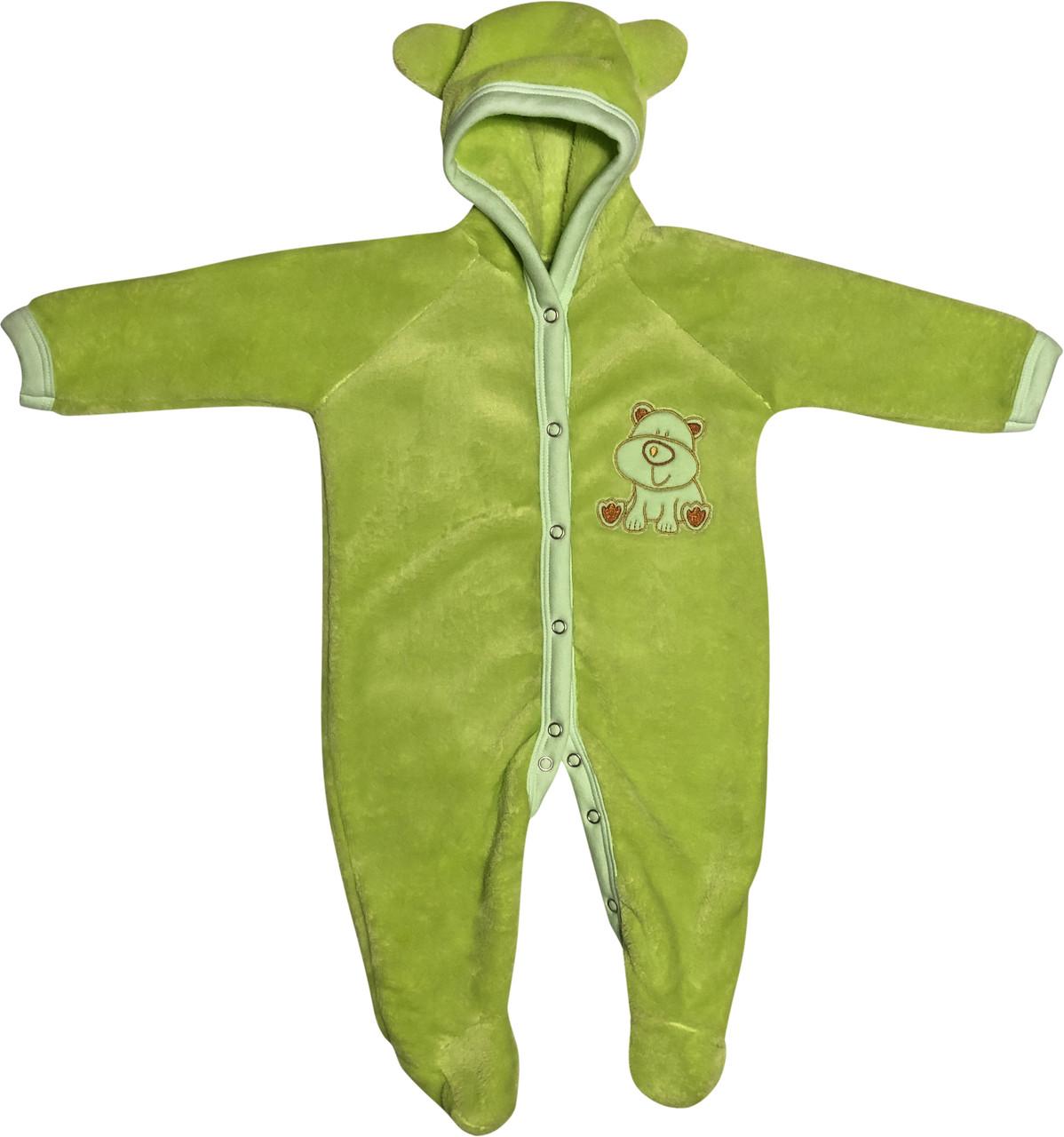 Теплий чоловічок для малюків ріст 62 2-3 міс на хлопчика дівчинку сліп з капюшоном вушками махровий салатовий