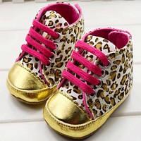 Леопардовые ботиночки с золотой окантовкой  1020