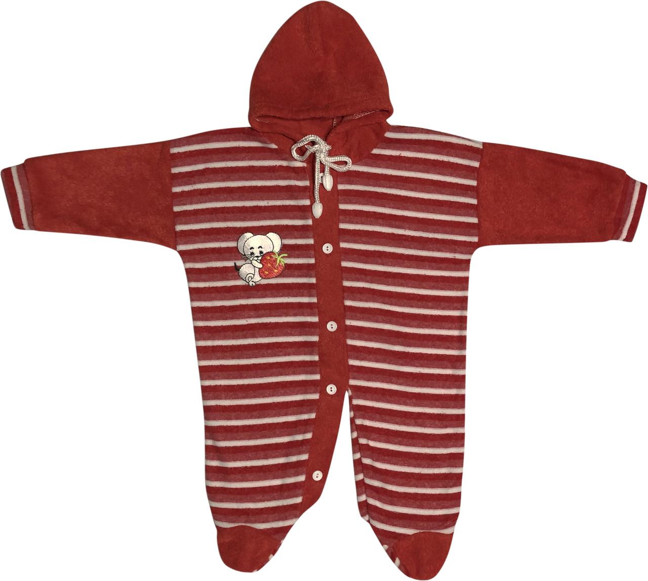 Детский тёплый человечек рост 62 2-3 мес махровый красный на девочку слип с капюшоном для новорожденных малышей Н002