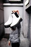 Женские ботинки Dr.Martens White \ Др.Мартенс Белые Челси Мех \ Жіночі черевики Др.Мартенс Білі Хутро