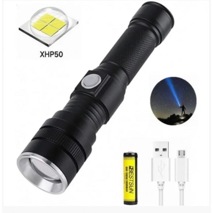 Ручной аккумуляторный фонарь BL-611-P50 фонарик 1500 Lumen