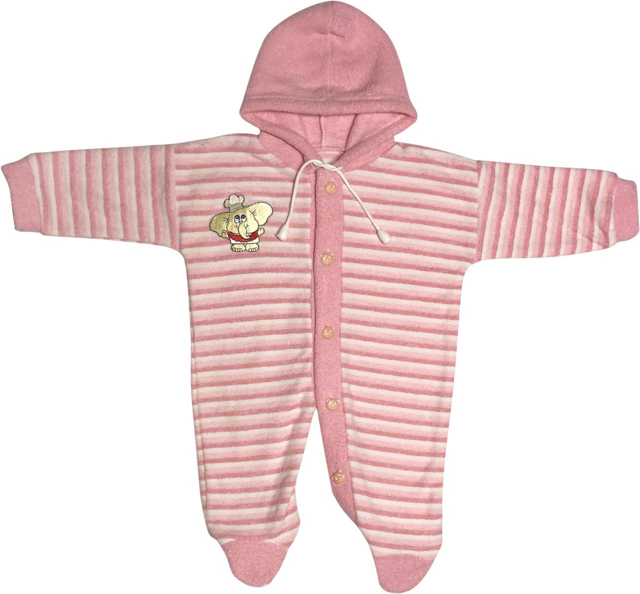 Детский тёплый человечек рост 62 2-3 мес махровый розовый на девочку слип с капюшоном для новорожденных малышей А002