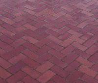 Тротуарная плитка Кирпичик 40, прессованный красная, Серая основа