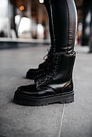 Женские ботинки Dr.Martens Jadon Black \ Др.Мартенс Черные Жадон Мех \ Жіночі черевики Др.Мартенс Чорні Жадон