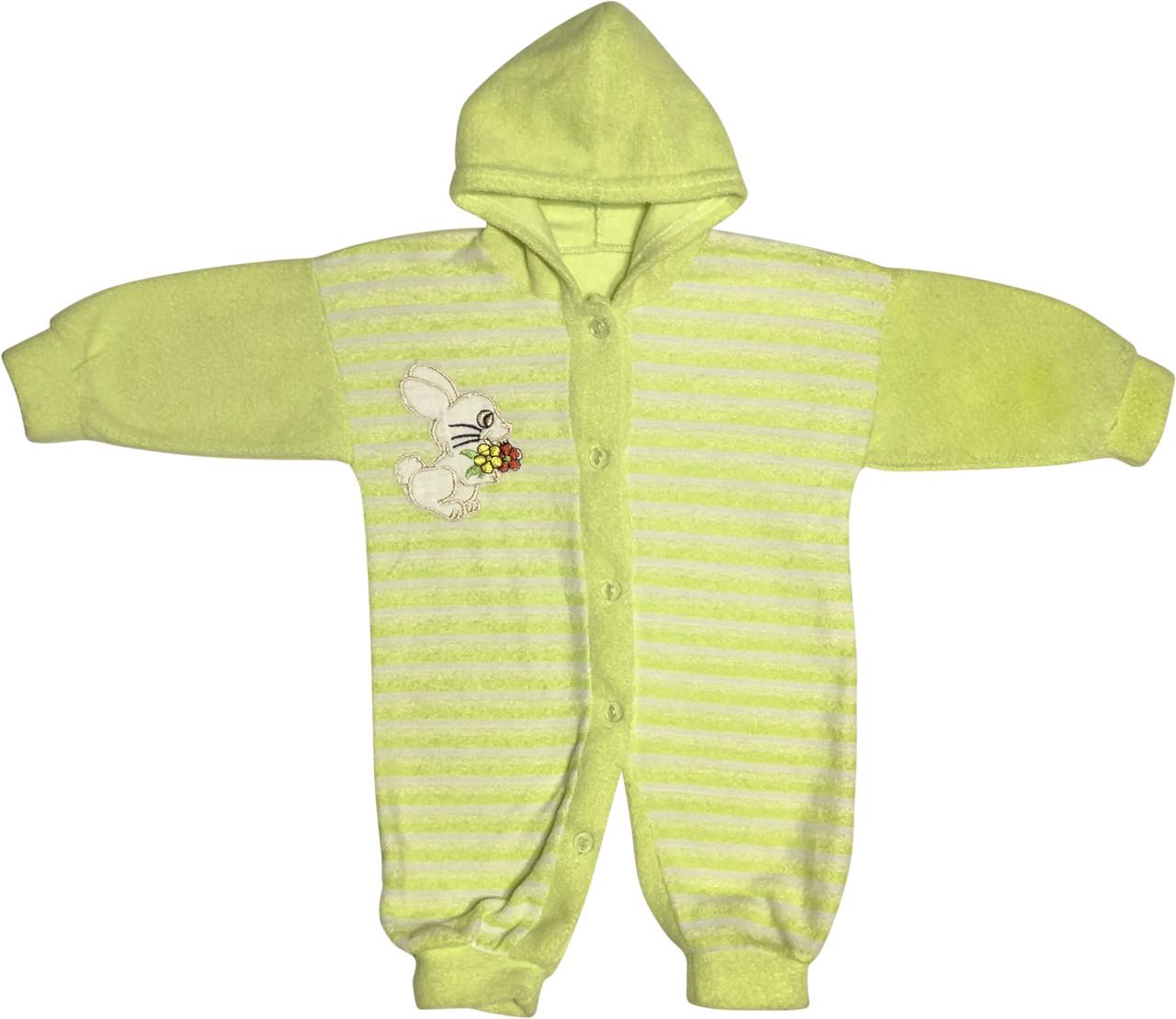 Детский тёплый человечек рост 62 2-3 мес махровый салатовый на мальчика девочку слип с капюшоном для новорожденных малышей С002