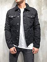 Мужская джинсовая куртка черная на меху ЗИМА S M L XL джинсовая куртка теплая