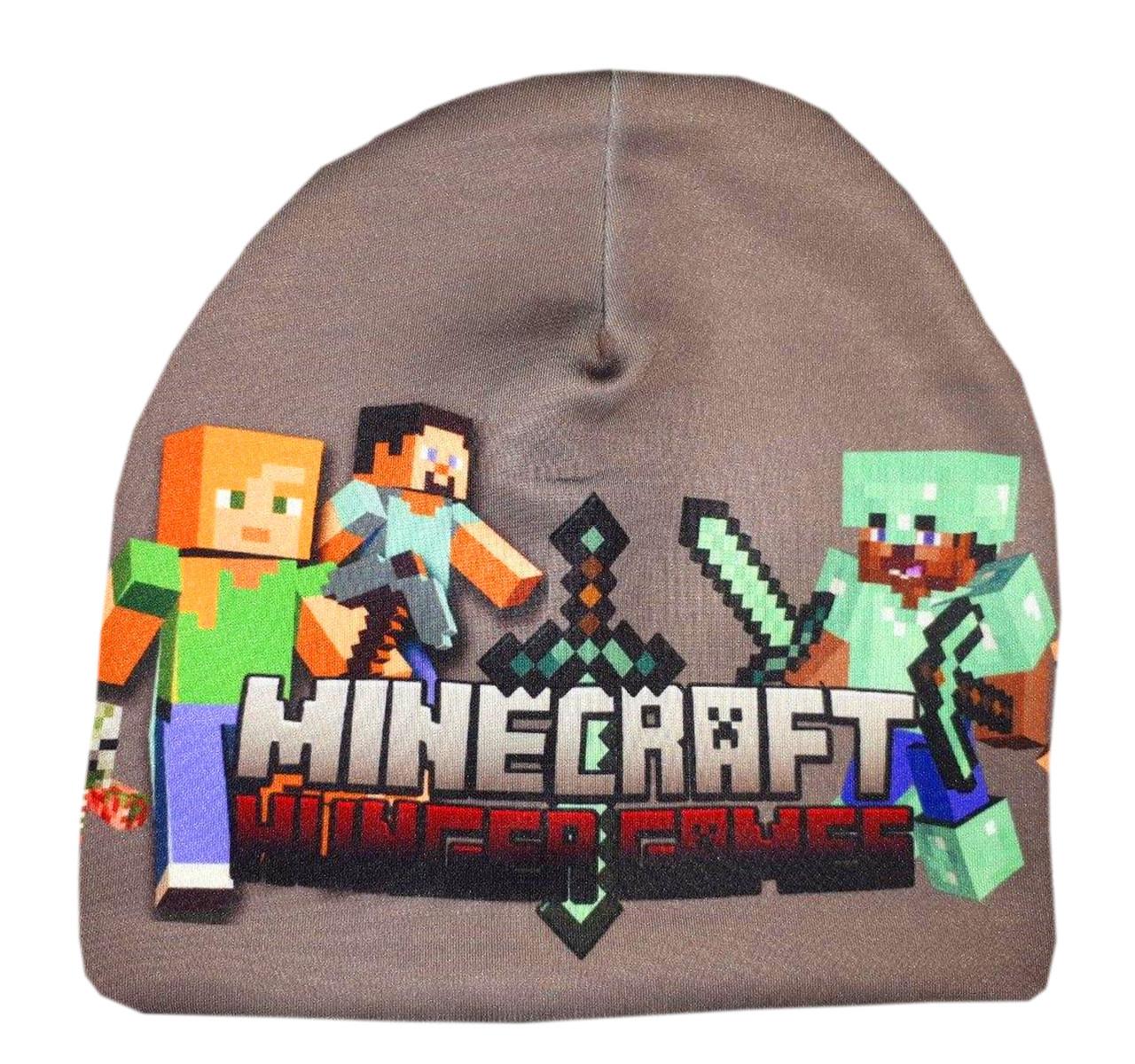 Детская трикотажная шапка Майнкрафт, демисезонная шапочка MineCraft, ц