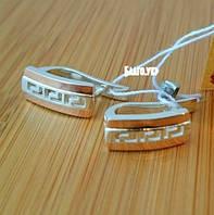 """Серебряные серьги """"УС-222"""" с накладками золота"""