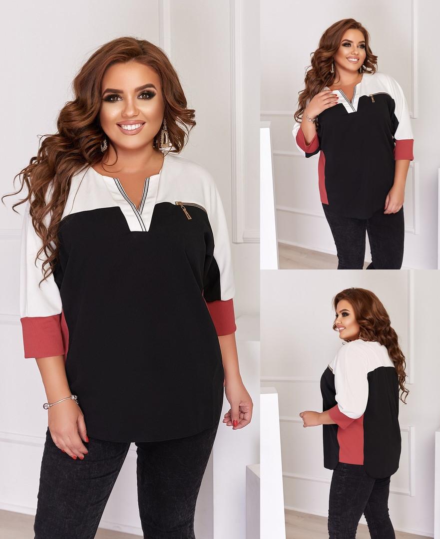 Женская блузка батал, креп - дайвинг, р-р 50; 52; 54; 56-58 (чёрный)