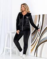 Жіночий велюровий костюм великого розміру Чорний, фото 1