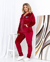 Женский велюровый костюм большого размера Красный, фото 1