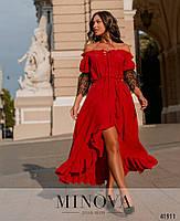 Нарядное платье с асимметричным подолом,рукава декорированы кружевом с 48 по 66 размер, фото 2