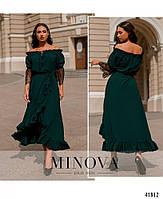 Нарядное платье с асимметричным подолом,рукава декорированы кружевом с 48 по 66 размер, фото 3
