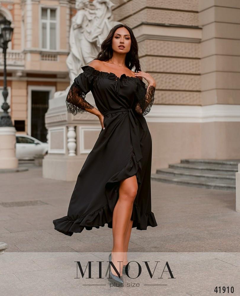Нарядное платье с асимметричным подолом,рукава декорированы кружевом с 48 по 66 размер