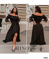 Нарядное платье с асимметричным подолом,рукава декорированы кружевом с 48 по 66 размер, фото 4