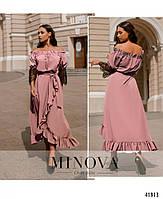 Нарядное платье с асимметричным подолом,рукава декорированы кружевом с 48 по 66 размер, фото 5
