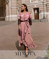 Нарядное платье с асимметричным подолом,рукава декорированы кружевом с 48 по 66 размер, фото 7