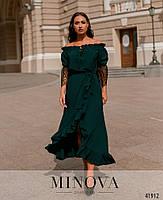 Нарядное платье с асимметричным подолом,рукава декорированы кружевом с 48 по 66 размер, фото 6