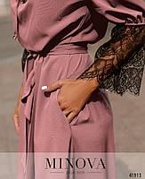 Нарядное платье с асимметричным подолом,рукава декорированы кружевом с 48 по 66 размер, фото 8